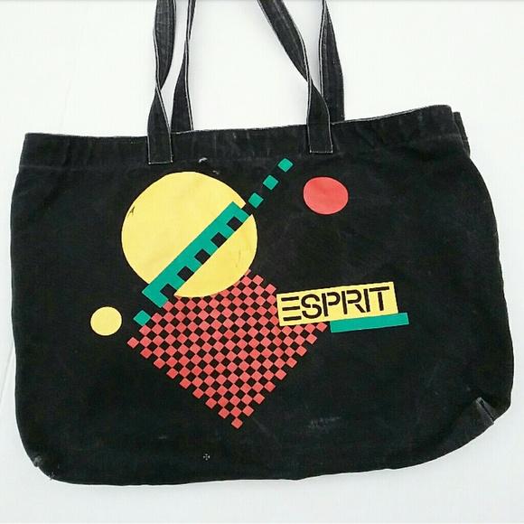 837dbc7277e Vintage 80's Esprit Oversize Black Canvas Tote Bag